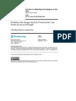 Melo-Pfeifer, S. and S. Pinto (2009). Évolution des images du FLE à l'université