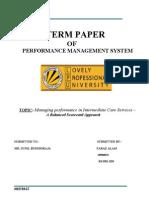 Managing performance in Intermediate Care Services –                        A Balanced Scorecard Approach