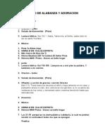 CULTO DE ALABANZA  Y ADORACION