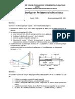 Devoir 2 de Statique et Résistance des Matériaux - MS 2 (2020 - 2021)