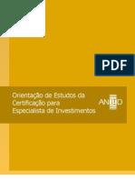Orientação de Estudos da Certificação para Especialista de Investimentos