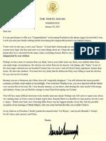 Donald Trump draft letter to Joe Biden 1/20/21