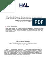 L'analyse de l'impact des mécanismes de gouvernance sur le niveau de divulgation volontaire  Cas des sociétés tunisiennes non financières .pdf