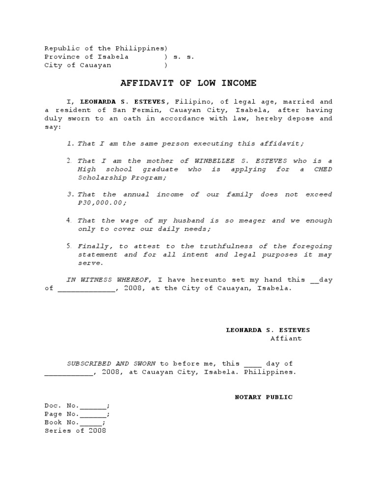 low income Affidavit – How to Write a Legal Affidavit