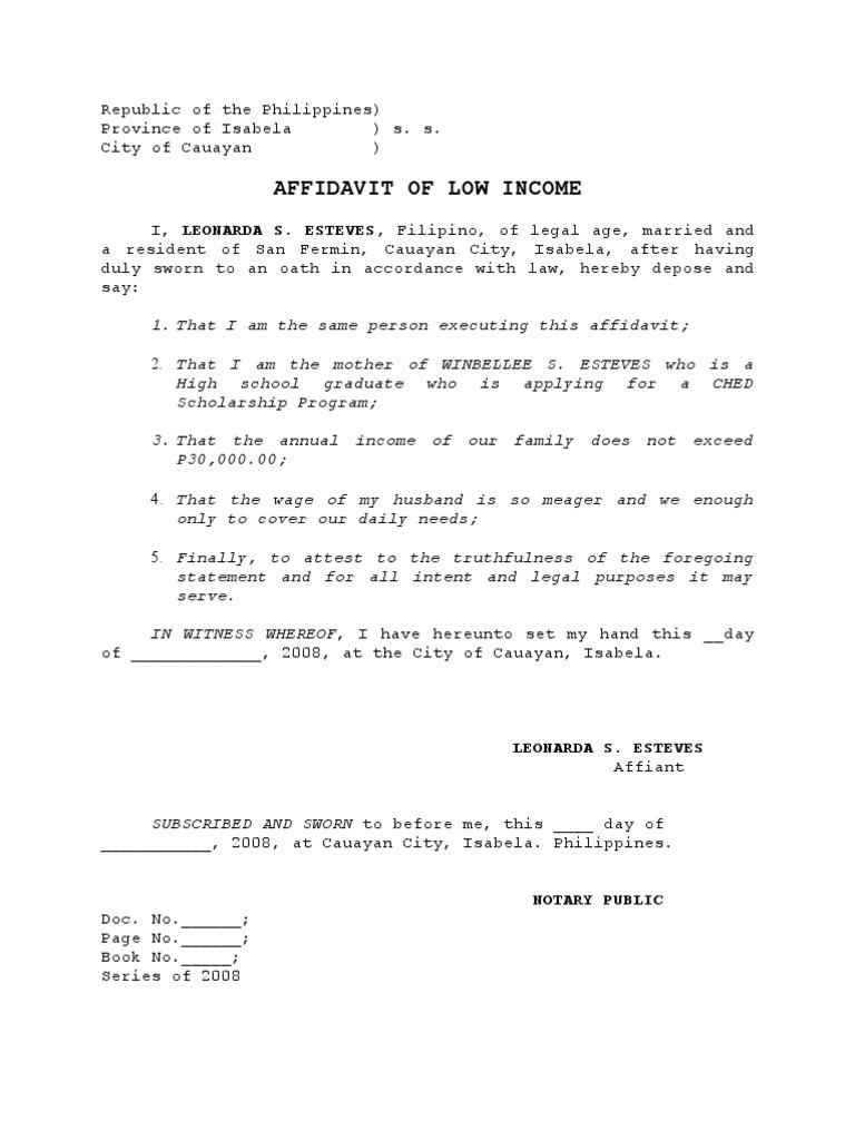 Low income affidavit evidence altavistaventures Choice Image