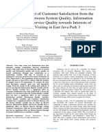 Mediation Effect of Customer Satisfaction From the Relationship Between System Quality, Information Quality, And Service Quality Towards Interests of Tourist Visiting in East Java Park 3