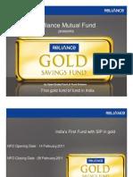 Reliance- Gold Saving Fund Presentation