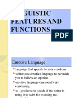 LINGUISTIC FEATURES AND FUNCTIONS