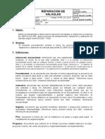 Procedimiento de proceso de mantenimiento, reparacion y calibracion de valvulas