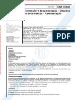 NBR 10520 (2002) - Informação e Documentação (Citações Em Documentos - Apresentação)