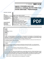 NBR 14136 (2002) - Plugues e Tomadas Para Uso Doméstico e Análogo Até 20 a-250 v Em Corrente Alternada (Padronização)