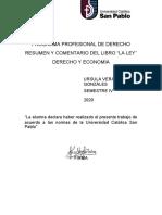 Resumen y Comentario de las pag 1-6 de LA LEY DE FREDERIC BASTIAT