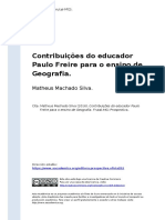 Matheus Machado Silva (2016). Contribuicoes do educador Paulo Freire para o ensino de Geografia