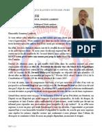15 Janvier 2021 - Lettre Ouverte Au Sénateur Joseph Lambert - La Problématique de la Crise Politique d'Haiti continue… IL NE PEUT Y AVOIR DE COMPROMIS POLITIQUE