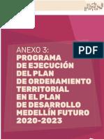 ACUERDO 48- Anexo 3 Plan de Ejecución POT - PDM 2020-2023 Medellín Futuro