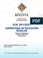 Resolución 001 del Ministerio de Educación
