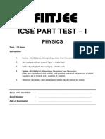 ICSE Part Test-1 Physics Q Paper