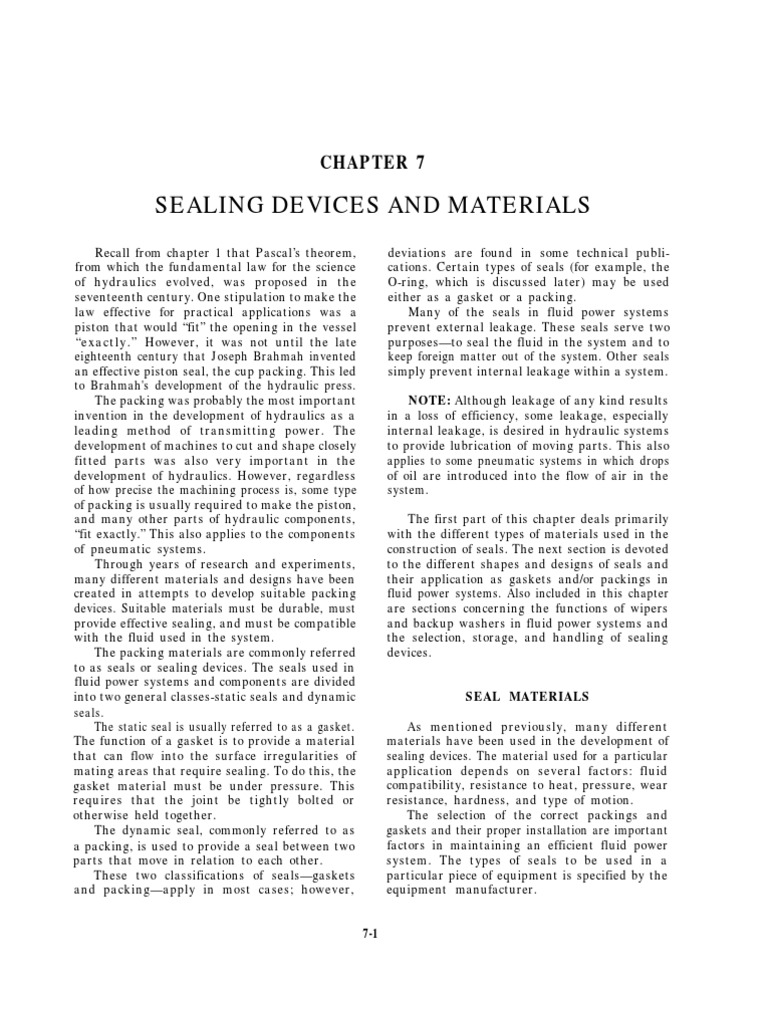 Sealing Devices & Materials | Mechanical Engineering | Nature