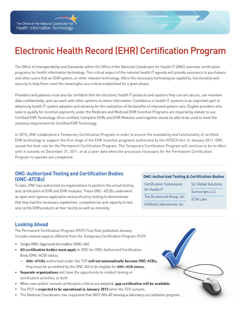 Electronic health record ehr certification program electronic electronic health record ehr certification program electronic health record health informatics 1betcityfo Image collections