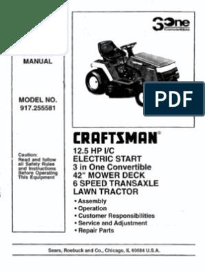 craftsman 12hp   Mower   Tractor