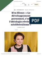 Eva Illouz - Le développement personnel, c'est l'idéologie rêvée du néolibéralisme