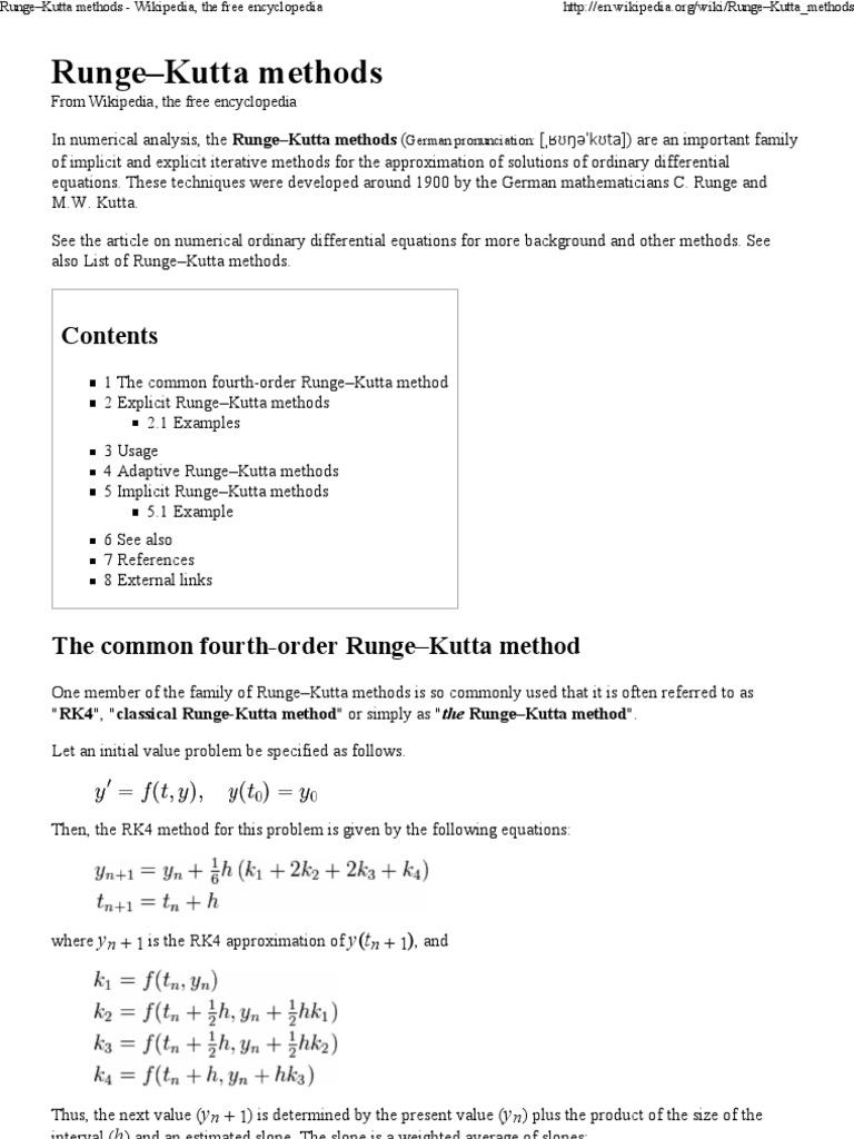 Rk4 matlab example