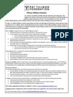 Tillman Military Scholars Summary & Application Info (2011)