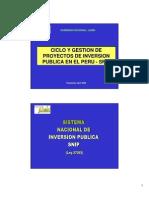 Ciclos y Gestión de Proyectos de Inversión Pública - SNIP