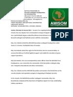 AMISOM Deputy Force Commander on Familiarisation Visit to Burundi Contingent Headquarters