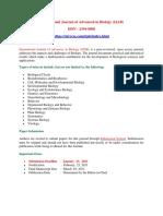 International Journal of Advances in Biology(IJAB)