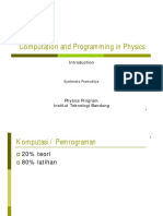 Computation and Programming in Physics - Introduction