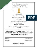 """MODELISATION PLUIE-DEBIT PAR LE LOGICIEL """"HEC-HMS"""" DE SOUS- BASSIN VERSANT L'OUED SAHEL"""
