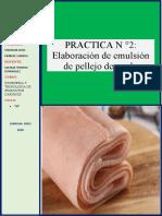 PRACTICA N ° 2  emulsion de pellejo de cerdo
