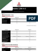 Especificaciones Técnicas Mitsubishi L200 4×2