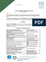 Acuerdo Académico 056 de 2020 - Calendario Académico Para Regulares - II Periodo de 2021