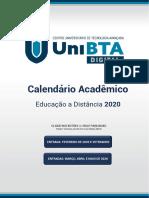 CALENDÁRIO ACADEMICO EAD UniBTA Digital 2020