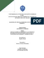 Ensayo sobre los métodos y las técnicas estadísticas que se pueden aplicar en la investigación forense y criminológica.