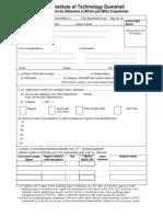 MTec_MDes Application Form - 2011 iit gawhathi