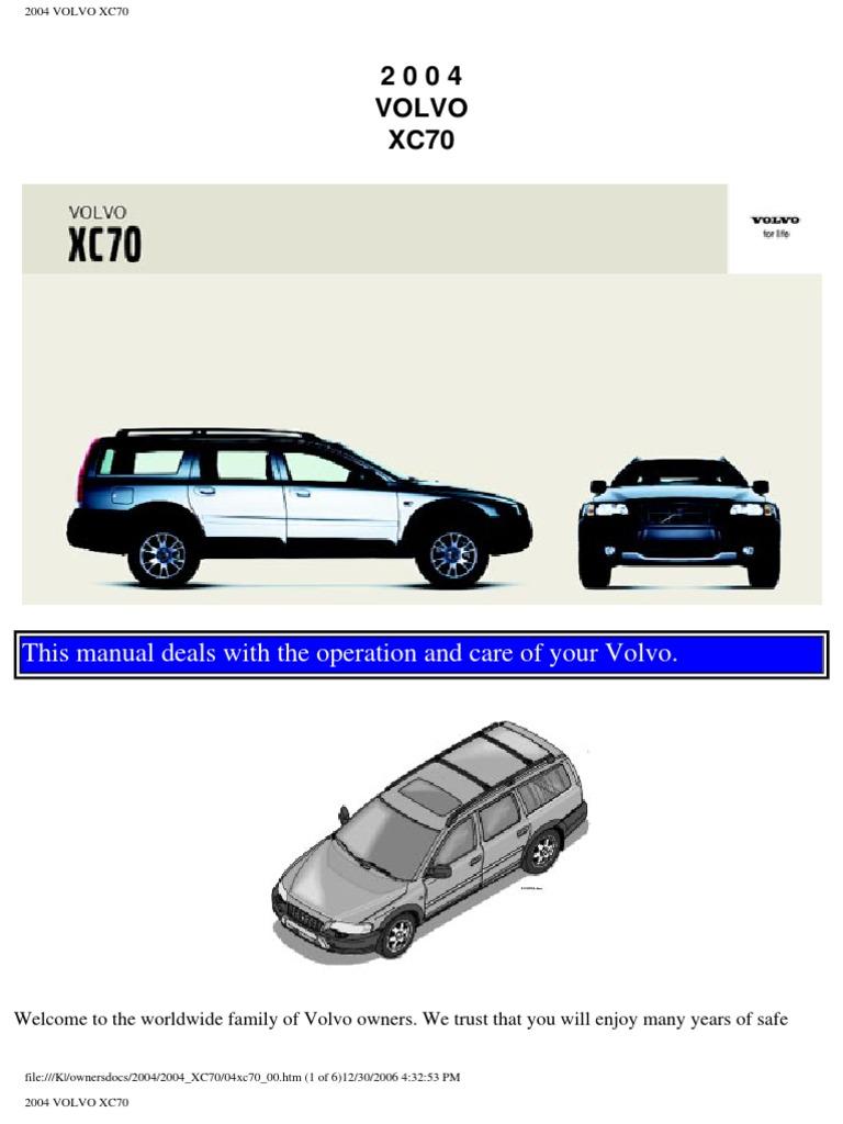 volvo xc70 2004 user manual airbag seat belt rh scribd com 2004 Volvo Transmission Problems 2004 Mazda Owners Manual