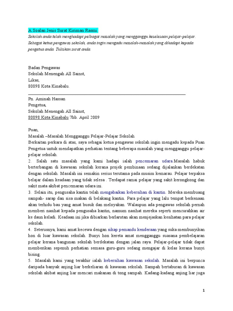 1486499081 - Surat Kiriman Rasmi Aduan Tentang Masalah Kemudahan Awam