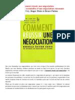 Comment réussir une négociation -William Ury, Roger Fishe et Bruce Patton