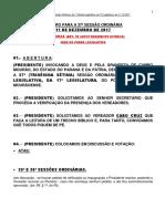 ROTEIRO PARA A 37a SESSAO ORDINARIA