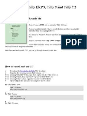 Recycle bin for Tally | Computer File | Computer Data