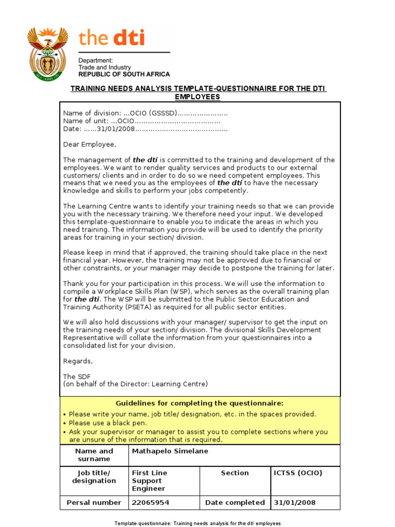 Training Needs Analysis Template-questionnaire for Employees ...