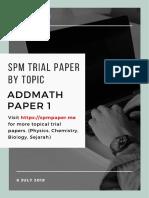 SPM Trial AddMath P1 By Topic