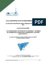 7èmes Uni Ete Management Territorial La réoganisation territoriale