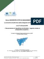 8èmes Uni Ete Management Territorial  Gouvernance territoriale et comparaison européenne