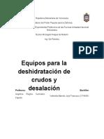 Equipos usados en la deshidratación de crudos