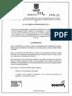 Decreto 023 de 2021 cuarentena Bogotá