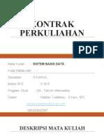 KONTRAK PERKULIAHAN Sistem Basis Data
